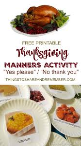 printable thanksgiving manners activity for