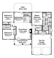 House Plans 1500 Square Feet by Traditional Style House Plans 1366 Square Foot Home 1 Story 3