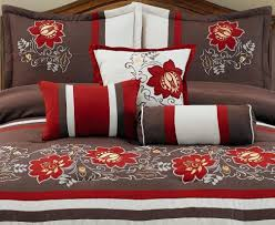 Red King Size Comforter Sets 7 Piece Brown Beige Red Floral Embroidered Comforter Set King Size