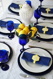 what will it bee yellow and french blue bumble baby shower table