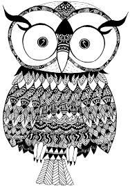 drawn pattern owl pencil and in color drawn pattern owl