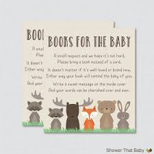 bring book instead of card to baby shower woodland baby shower bring a book instead of a card invitation