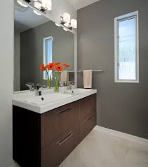 gray painted walls powder room rustic with copper sink