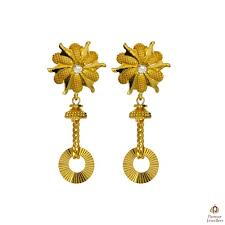 gold earrings tops delicate work designer golden earrings parmar