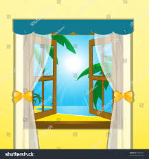 view beach sea palm trees through stock vector 65994163 shutterstock