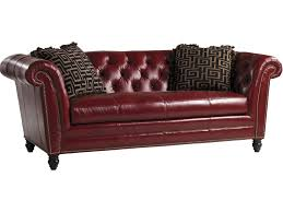Leather Sofa With Pillows by Lexington Quick Ship Upholstery Quick Ship Bridgewater Tufted Back