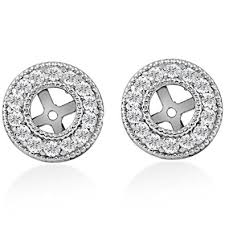 diamond earring jackets 1 2ct halo diamond earring jackets 14k white gold