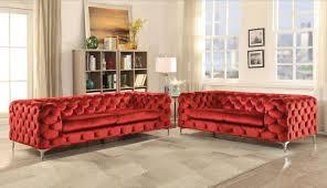 acme 52795 adam 2pcs red velvet button tufted sofa set