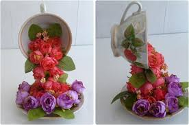 diy home decor idea crafts artificial flowers coffee cups