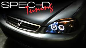 honda civic headlight specdtuning installation 1999 2000 honda civic projector