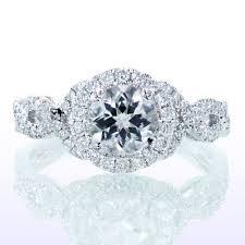 twisted band engagement ring platinum halo twist vine band engagement ring with center