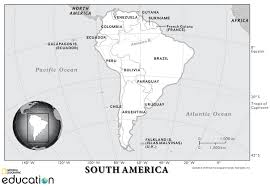 Blank Map Of South America by South America Resources National Geographic Society