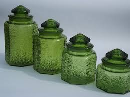 vintage green glass daisy u0026 button kitchen counter canister jars set