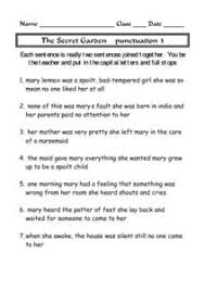 the secret garden punctuation 3 4th 7th grade worksheet