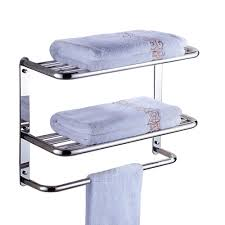 Ss Bathroom Accessories by Amazon Com Bathroom Shelf 2 Tier Wall Mounting Rack With Towel