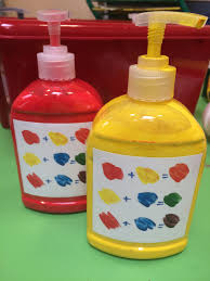eyfs for easy access to paint for colour mixing i added the
