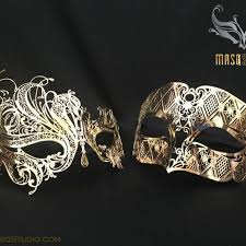 masquerade masks for couples luxury venetian gold swan masquerade mask set masqstudio