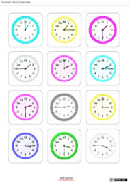 clock flash cards adaptable print resource creative commons