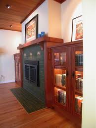 Arts Crafts Bookcase Craftsman Fireplace Mantel Living Room Traditional With Arts And