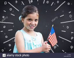 American Flag Doodle Holding American Flag Against Navy Chalkboard And White Stock
