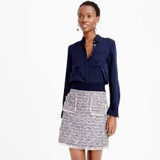 tweed skirt j crew multicolored tweed skirt in blue lyst