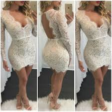 white lace plunge backless short party cocktail dress