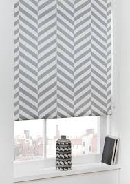 chevron printed blackout roller blinds grey art deco ready made