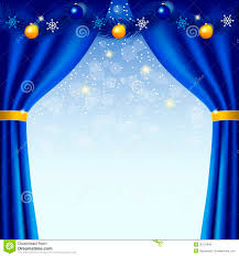 Snowflake Curtains Christmas Happy New Year Background With Blue Curtains Stock Vector Image
