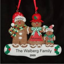 personalized gingerbread family of 3 ornament