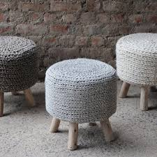 Ottoman Knitted Christopher Home Montana Knitted Fabric Ottoman Stool