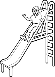 playground slide kid coloring page wecoloringpage