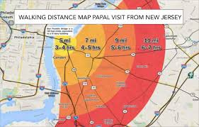New Jersey Map Walking Distance Map From New Jersey For Pope U0027s Visit U2013 Pope