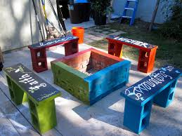 bench cinder block wood bench monsoon rains cinder block garden