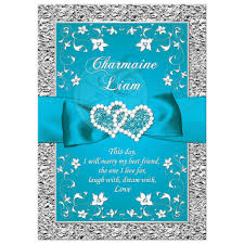 Purple And Silver Wedding Invitations Wedding Invitation Turquoise Silver Floral Faux Silver Foil