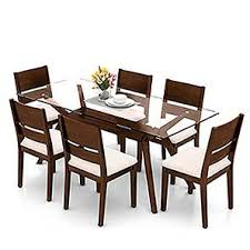 wesley cabalo fabric 6 seater dining table set urban ladder