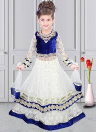 invigorating white net designer kids wear lehenga choli kids
