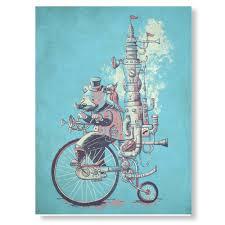 sunday stroll print bicycle art print bear print animal