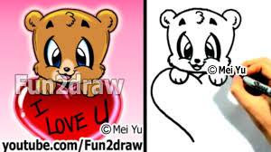 how to draw a bear with a valentine u0027s heart cute art fun2draw