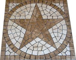 square charro texas star mosaic porcelain tile medallion