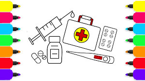 first aid medical doctor kit coloring for kids coloring pages