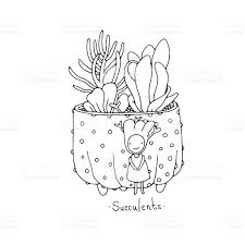 cartoon cute succulents in pot stock vector art 604341798 istock