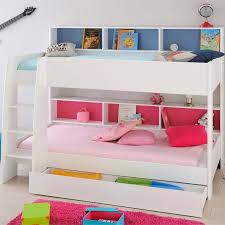 chambre lit superposé lit superposé enfant bois blanc niches colorées univers chambre