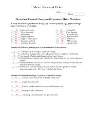 matter homework packet key