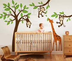 nursery wall stickers nursery wall decals nursery wall stickers jungle tree with monkeys and stretching giraffe wall decalwall