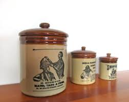 pottery canisters kitchen pottery canister set etsy