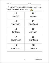free worksheets numbers 1 20 in words free math worksheets for
