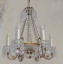 Neoclassical Chandeliers Vintage French Doré Bronze Cut Crystal Bowl Neoclassical Empire
