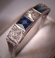 Diamond Sapphire Wedding Ring by Antique Platinum Diamond Sapphire Wedding Ring Band Art Deco