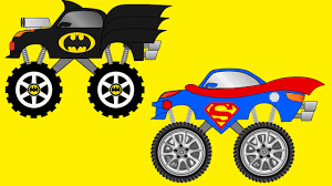 video truck monster batman truck vs superman truck monster trucks for kids kids