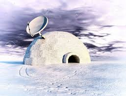 satellite dish and igloo in winter landscape 3d concept stock